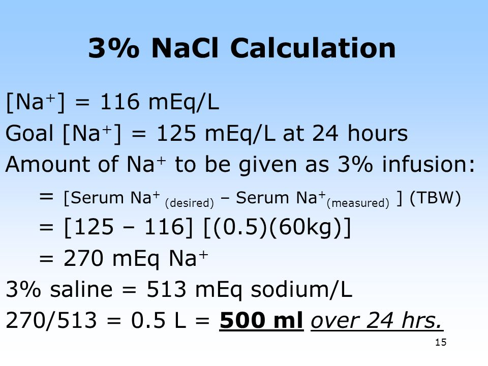 3% NaCl Calculation [Na+] = 116 mEq/L